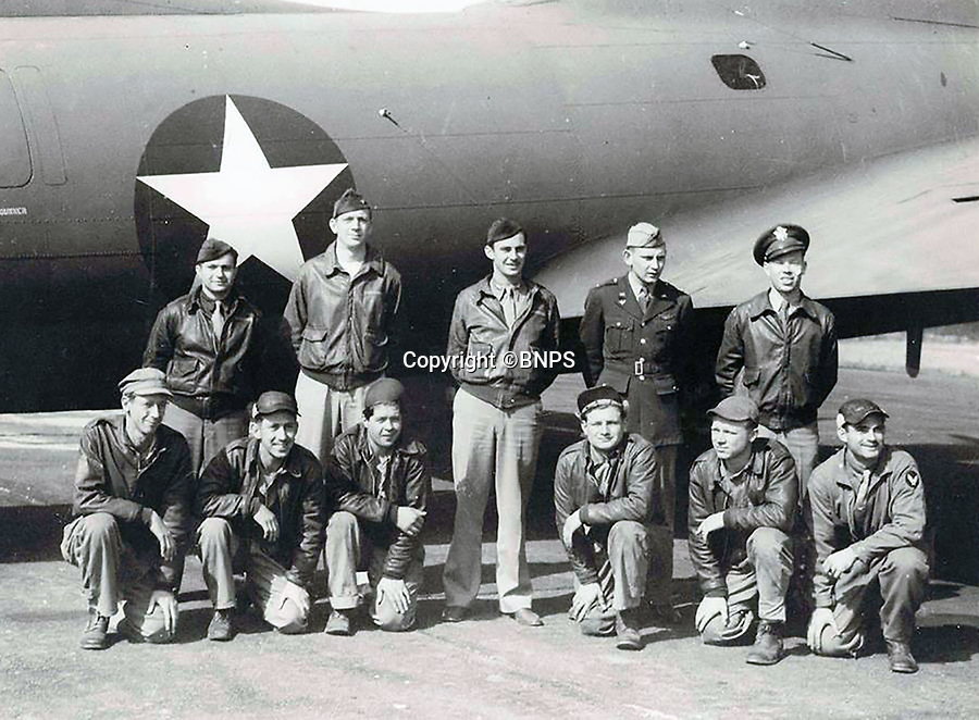 BNPS.co.uk (01202 558833)<br /> Pic: CorinMesser/BNPS<br /> <br /> 414 Sqn who flew the first American mission over enemy territory.  <br /> <br /> Sections of a torn-down pub ceiling which are covered in 250 signatures from World War Two heroes have been salvaged and turned into a memorial.<br /> <br /> The merry airmen left their mark during raucous evenings at the George and Dragon in the village of Clyst St George in Devon.<br /> <br /> Many of the brave men who signed or drew on the wood ceiling perished in the war in the skies with the Luftwaffe.<br /> <br /> One of them, Sergeant Albert Stilin, of 257 Squadron, was killed aged 21 when he crashed his Hurricane into this pub's roof on September 30, 1942. Another airman later put the initials 'RIP' put after his name.<br /> <br /> The ceiling was taken down in 1975 and half of it was destroyed. <br /> <br /> Robin and Suzannah Holwell recovered the surviving planks from a RAFA association store room in 2009 and have carried out a decade-long preservation project, putting the sections in frames and researching the men behind signatures.