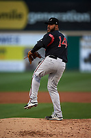 Lake Elsinore Storm starting pitcher Pedro Avila (14) delivers a pitch during a California League game against the Rancho Cucamonga Quakes at LoanMart Field on May 19, 2018 in Rancho Cucamonga, California. Lake Elsinore defeated Rancho Cucamonga 10-7. (Zachary Lucy/Four Seam Images)