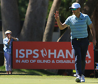 James Heath (ENG) in action on the 18th during Round 1 of the ISPS Handa World Super 6 Perth at Lake Karrinyup Country Club on the Thursday 8th February 2018.<br /> Picture:  Thos Caffrey / www.golffile.ie<br /> <br /> All photo usage must carry mandatory copyright credit (&copy; Golffile | Thos Caffrey)