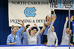 18 February 2016: North Carolina's bench cheers on one of their swimmers. The 2016 Atlantic Coast Conference Swimming and Diving Championships were held at the Greensboro Aquatic Center in Greensboro, North Carolina from February 17-27, 2016.