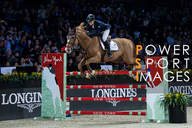 Xingjia Zhang of China riding For Passion D Ive Z competes in the Masters One DBS during the Longines Masters of Hong Kong at AsiaWorld-Expo on 11 February 2018, in Hong Kong, Hong Kong. Photo by Diego Gonzalez / Power Sport Images