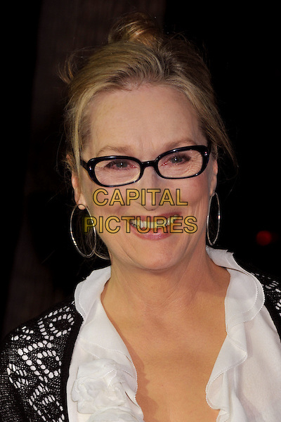 "MERYL STREEP.""Doubt"" Los Angeles Premiere at the Academy of Motion Picture Arts and Sciences, Beverly Hills, CA, USA..November 18th, 2008.headshot portrait glasses silver hoop earrings .CAP/ADM/BP.©Byron Purvis/AdMedia/Capital Pictures."