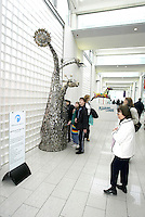 The Millennium Galleries in Sheffield with sculpture  by Johnny White, 'Barking up the Right Tree'