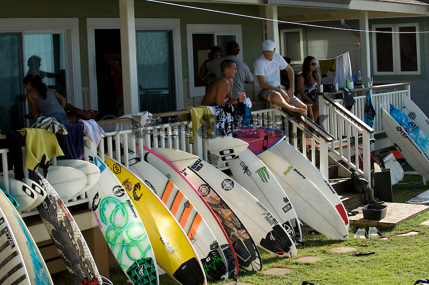 Surfboards at the Oakley house at Off the Wall on the Northshore of Oahu in Hawaii.