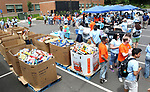 WATERBURY CT. 21 June 2017-062117SV01-Volunteers collect and load food items for the Connecticut food bank during United Way's 75th annual Day of Action in Waterbury Wednesday.<br /> Steven Valenti Republican-American