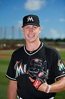 GCL Marlins pitcher Cason Sherrod (45) poses for a photo before a game against the GCL Cardinals on August 4, 2018 at Roger Dean Chevrolet Stadium in Jupiter, Florida.  GCL Marlins defeated GCL Cardinals 6-3.  (Mike Janes/Four Seam Images)