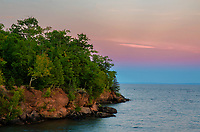 Earth's Shadow hangs under the late evening twilight glow over Lake Superior and Madeline Island in the Apostle Island chain, from Big Bay State Park, Ashland County, Wisconsin