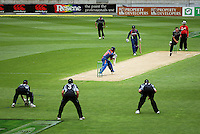 NZ's Kyle Mills bowls to Sachin Tendulkar during the 2nd ODI cricket match between the New Zealand Black Caps and India at Westpac Stadium, Wellington, New Zealand on Friday, 6 March 2009. Photo: Dave Lintott / lintottphoto.co.nz