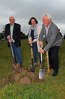 From left, Mike Allen, Tinks Pottinger and John Booth. South Wairarapa Vet Services Clareville Vet Clinic Sod-Turning Ceremony at Carterton, New Zealand on Thursday, 4 August 2017. Photo: Dave Lintott / lintottphoto.co.nz