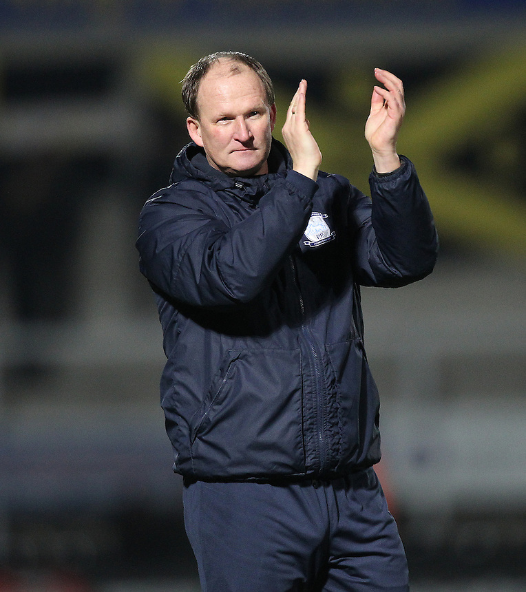 Preston North End's Manager Simon Grayson celebrates as the game ends<br /> <br /> Photographer Mick Walker/CameraSport<br /> <br /> The EFL Sky Bet Championship - Burton Albion v Preston North End - Monday 2nd January 2017 - Pirelli Stadium - Burton upon Trent<br /> <br /> World Copyright &copy; 2017 CameraSport. All rights reserved. 43 Linden Ave. Countesthorpe. Leicester. England. LE8 5PG - Tel: +44 (0) 116 277 4147 - admin@camerasport.com - www.camerasport.com