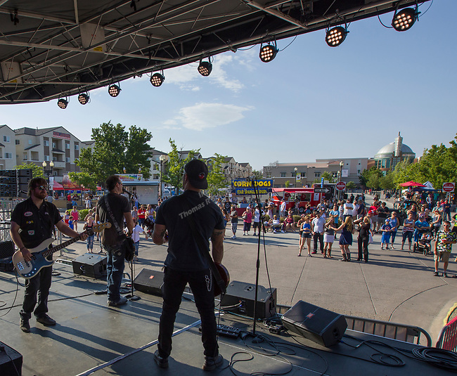 The Garage Boys band plays during Star Spangled Sparks on Wednesday July 4, 2018 in downtown Sparks.