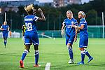 Solna 2015-08-31 Fotboll Damallsvenskan AIK - Eskilstuna United :  <br /> Eskilstunas Olivia Schough och Sara Thunebro p&aring; v&auml;g att gratulera Gaelle Enganamouit till 0-2 m&aring;let under matchen mellan AIK och Eskilstuna United <br /> (Foto: Kenta J&ouml;nsson) Nyckelord:  Damallsvenskan Allsvenskan Dam Damer Damfotboll Skytteholm Skytteholms IP AIK Gnaget Eskilstuna United jubel gl&auml;dje lycka glad happy