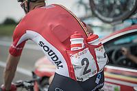 Lars Bak (DEN/Lotto-Soudal) getting supplies at the team car for his teammates<br /> <br /> 12th Eneco Tour 2016 (UCI World Tour)<br /> Stage 7: Bornem › Geraardsbergen (198km)