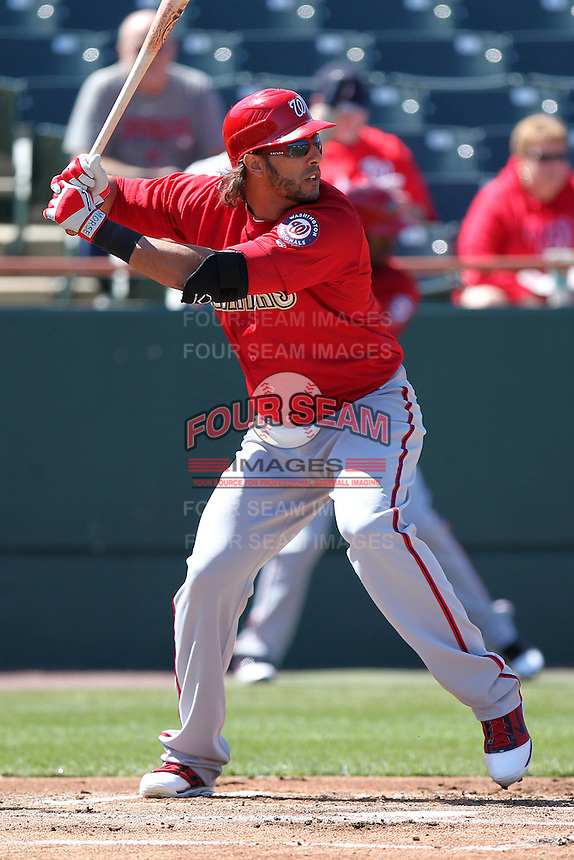 Harrisburg Senators designated hitter Michael Morse #46, on major league rehab,  during a game against the Bowie BaySox at Prince George's Stadium on April 8, 2012 in Bowie, Maryland.  Harrisburg defeated Bowie 5-2.  (Mike Janes/Four Seam Images)
