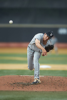 Davidson Wildcats starting pitcher Josh Hudson (33) delivers a pitch to the plate against the Wake Forest Demon Deacons at David F. Couch Ballpark on May 7, 2019 in  Winston-Salem, North Carolina. The Demon Deacons defeated the Wildcats 11-8. (Brian Westerholt/Four Seam Images)