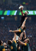Kieran Read of New Zealand wins the ball at a lineout. Rugby World Cup Semi Final between South Africa and New Zealand on October 24, 2015 at Twickenham Stadium in London, England. Photo by: Patrick Khachfe / Onside Images