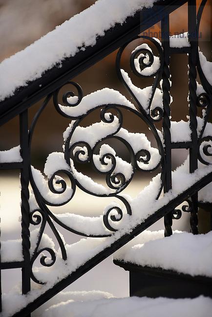 Washington Hall staircase in snow