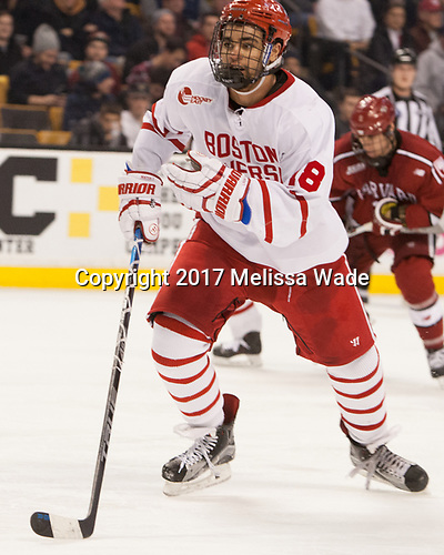 Jordan Greenway (BU - 18) - The Harvard University Crimson defeated the Boston University Terriers 6-3 (EN) to win the 2017 Beanpot on Monday, February 13, 2017, at TD Garden in Boston, Massachusetts.