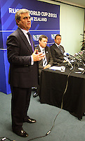 Minister for Sports and Recreation Clayton Cosgrove addresses the media. 2011 Rugby World Cup Quarter-finals and Bronze Final Venue Announcement at the Rugby New Zealand 2011 offices, Wellington, New Zealand on Thursday, 4 September 2008. Photo: Dave Lintott / lintottphoto.co.nz