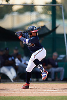 Atlanta Braves William Contreras (5) at bat during an Instructional League game against the Detroit Tigers on October 10, 2017 at the ESPN Wide World of Sports Complex in Orlando, Florida.  (Mike Janes/Four Seam Images)