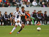 CARSON, CA - March 18,2012: LA Galaxy midfielder Juninho (19) during the LA Galaxy vs DC United match at the Home Depot Center in Carson, California. Final score LA Galaxy 3, DC United 1.