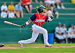 4 July 2012: Vermont Lake Monsters infielder Austin Booker in action against the Hudson Valley Renegades at Centennial Field in Burlington, Vermont. The Lake Monsters edged out the Renegades the Cyclones 2-1 in NY Penn League action. Mandatory Credit: Ed Wolfstein Photo