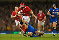 1st February 2020; Millennium Stadium, Cardiff, Glamorgan, Wales; International Rugby, Six Nations Rugby, Wales versus Italy; Cory Hill of Wales is tackled by Niccolo Cannone of Italy