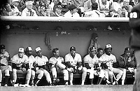 1984 Allstar game at Candlestick Park in San Francisco the American league bench.