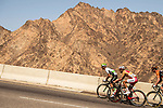 Jacques Janse van Rensburg (RSA) Team Dimension Data Gold Jersey wearer Loic Chetout (FRA) Cofidis and Pieter Weening (NED) Roompot-Nederlandse Loterij and part of the breakaway group climb during Stage 4 of the 2018 Tour of Oman running 117.5km from Yiti (Al Sifah) to Ministry of Tourism. 16th February 2018.<br /> Picture: ASO/Muscat Municipality/Kare Dehlie Thorstad | Cyclefile<br /> <br /> <br /> All photos usage must carry mandatory copyright credit (&copy; Cyclefile | ASO/Muscat Municipality/Kare Dehlie Thorstad)