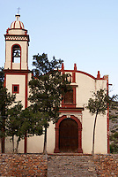 The restored Church of San Nicolas in the mining  ghost town of Cerro de San Pedro, San Luis Potosi state, Mexico
