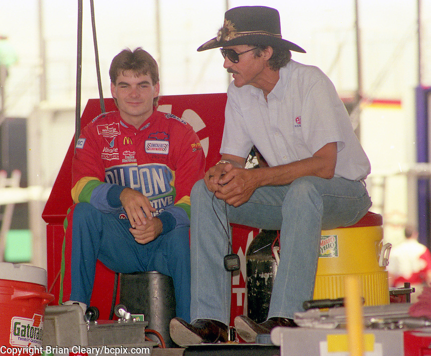 A recently retired legend Richard Petty, right, talks with a young Jeff Gordon in the garage at Talladega Superspeedway, May 1994, Talladega, AL.  (Photo by Brian Cleary/www.bcpix.com)
