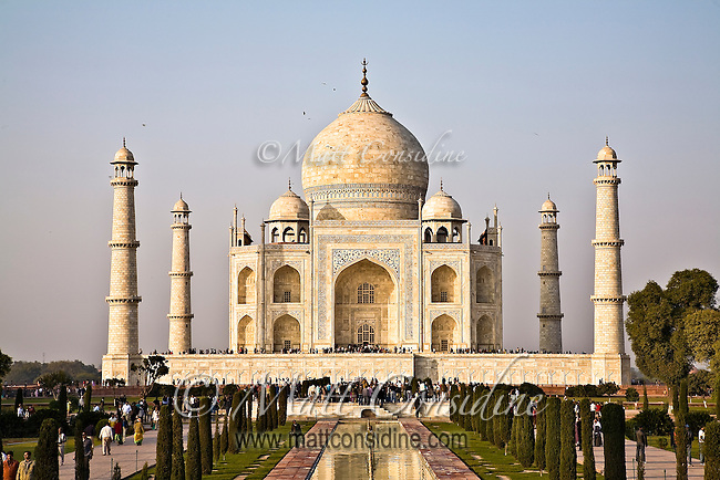 Tourists enjoying the Taj Mahal, built by the Mughal emperor Shah Jahan in the memory of his beloved wife Mumtaz Mahal.<br /> (Photo by Matt Considine - Images of Asia Collection)