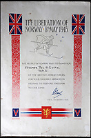 BNPS.co.uk (01202 558833)<br /> Pic: Bellmans/BNPS<br /> <br /> A grateful certificate from the people of Norway to 2 SAS for their liberation.<br /> <br /> A fascinating trove of SAS records including some of the first photographs of the elite force which have never been seen before has been unearthed. <br /> <br /> The extensive assortment, also including medals and documents, was accumulated by war hero Lance Corporal William James Cooke at the end of World War Two. <br /> <br /> Remarkable images of Cooke's previously unrevealed wartime exploits show him serving behind enemy lines in occupied France and assisting with the liberation of Norway. <br /> <br /> His accomplishments have come to light after a family member presented the bequeathed collection to Hampshire-based auctioneer Bellmans, which will sell it tomorrow.