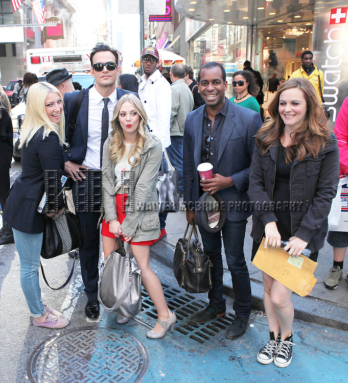 "The cast and creative team of ""The Performers"", from left, actress Ari Graynor, actor Cheyenne Jackson, actress Jenni Barber actor Daniel Breaker and Alicia Silverstone attends press event to introduce the cast and creators of the new Broadway play ""The Performers""at the Hard Rock Cafe on Tuesday, Sept. 25, 2012 in New York."