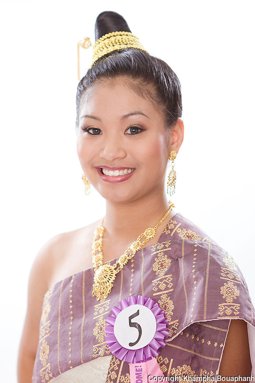 Amanda Thiphavong, contestant for Miss Songkran pageant, poses during the Lao New Year celebration at Wat Lao Thepnimith in Fort Worth on April 24, 2010.  (photo by Khampha Bouaphanh)