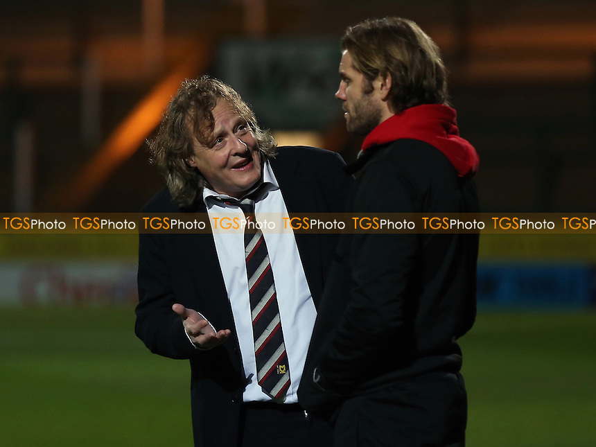 MK Dons Chairman, Pete Winkelman chats with new manager, Robbie Neilson pre-match during Yeovil Town vs MK Dons, Checkatrade Trophy Football at Huish Park on 6th December 2016