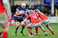 Dave Attwood of Bath Rugby in possession. Aviva Premiership match, between Bath Rugby and Saracens on December 3, 2016 at the Recreation Ground in Bath, England. Photo by: Patrick Khachfe / Onside Images