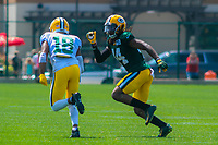 Green Bay Packers wide receiver Randall Cobb (18) and cornerback Donatello Brown (44) during a training camp practice on August 15, 2017 at Ray Nitschke Field in Green Bay, Wisconsin.   (Brad Krause/Krause Sports Photography)