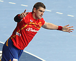 25.01.2013 Barcelona, Spain. IHF men's world championship, Semi-final. Picture show Julen Aguinagalde  in action during game between Spain vs Slovenia at Palau St. Jordi