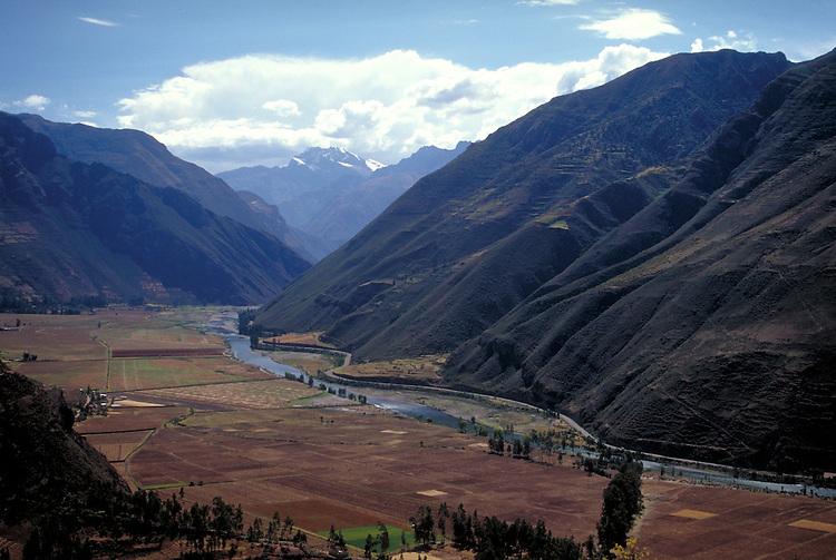 The sacred valley of the Inca and the Urubamba River near Cusco, Peru