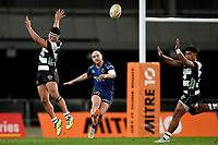 Matt Faddes of Otago clears during the 2018 Mitre 10 Cup Championship rugby semifinal between Canterbury and Counties Manukau at Forsyth Barr Stadium in Dunedin, New Zealand on Saturday, 20 October 2018. Photo: Joe Allison / lintottphoto.co.nz