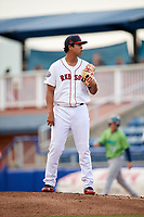 Salem Red Sox relief pitcher Danny Gonzalez (40) looks in for the sign during a game against the Lynchburg Hillcats on May 10, 2018 at Haley Toyota Field in Salem, Virginia.  Lynchburg defeated Salem 11-5.  (Mike Janes/Four Seam Images)