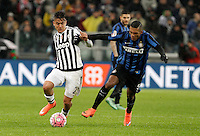 Calcio, Serie A: Juventus vs Inter. Torino, Juventus Stadium, 28 February 2016.<br /> Juventus&rsquo; Paulo Dybala, left, is challenged by Inter's Juan Jesus during the Italian Serie A football match between Juventus and Inter at Turin's Juventus Stadium, 28 February 2016.<br /> UPDATE IMAGES PRESS/Isabella Bonotto