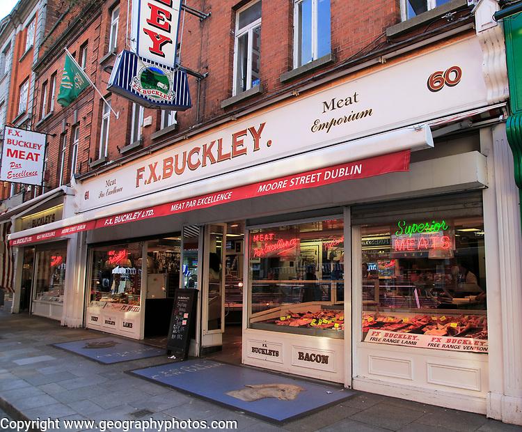F X Buckley butcher shop, Moore Street, Dublin city centre, Ireland, Republic of Ireland