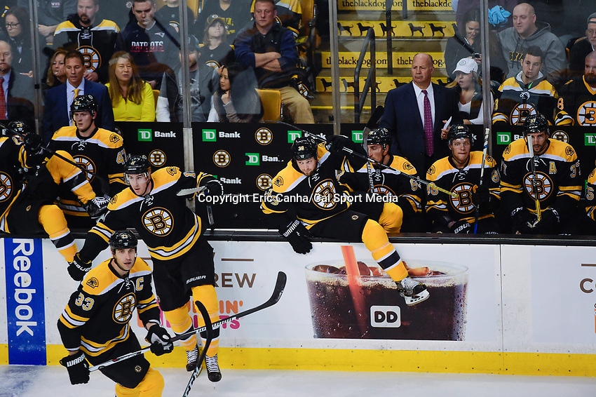 Thursday, October 20, 2016: Boston Bruins right wing Jimmy Hayes (11) and left wing Matt Beleskey (39) jump onto the ice during the Boston Bruins home opener against the New Jersey Devils held at TD Garden, in Boston, Mass. The Bruins defeat the Devils 2-1 in regulation time. Eric Canha/CSM