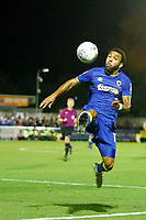 AFC Wimbledon's Andy Barchan controls the ball during the Sky Bet League 1 match between AFC Wimbledon and MK Dons at the Cherry Red Records Stadium, Kingston, England on 22 September 2017. Photo by Carlton Myrie / PRiME Media Images.