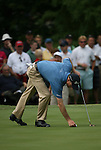 6 September 2008:   Jim Furyk marks his ball on the eighth hole in the third round of play at the BMW Golf Championship at Bellerive Country Club in Town & Country, Missouri, a suburb of St. Louis, Missouri. Furyk was the leader after the conclusion of round two with a score of 62.  After the first nine holes of the 18-hole third round, Furyk was 11 under-par.  The BMW Championship is the third event of the Fed Ex Cup and the top 30 finishers will qualify for the next event of the championship.
