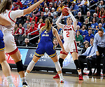 SIOUX FALLS, SD - MARCH 10: Liv Korngable #2 of the South Dakota Coyotes looks to pass the ball to a teammate during their game against the South Dakota State Jackrabbits  during the women's championship game at the 2020 Summit League Basketball Tournament in Sioux Falls, SD. (Photo by Dave Eggen/Inertia)