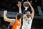Real Madrid Rudy Fernandez and Valencia Basket Joan Sastre during Liga Endesa match between Real Madrid and Valencia Basket at Wizink Center in Madrid , Spain. March 25, 2018. (ALTERPHOTOS/Borja B.Hojas)