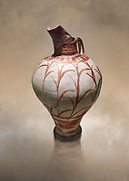 Tall elegant Minoan polychrome jug decorated with reeds, Akrotiri, Thira (Santorini) National Archaeological Museum Athens. 17th-16th cent BC.